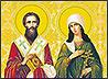 К прибытию мощей Киприана и Иустинии сестры Ново-Тихвинского монастыря написали икону этих святых