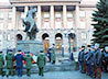 Священнослужители возложили цветы к памятнику маршалу Советского Союза Г.К. Жукову