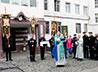 В дар храму ИК-2 передали икону св. прав. Симеона Верхотурского с частицей его мощей