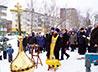 В Прощеное воскресенье освятили накупольный крест и купол Богоявленского собора